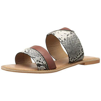 BC Womens On The Spot Leather Flats Slide Sandals
