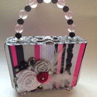 Custom Upcycled Cigar Box in Black, White and Fuschia with Vintage Buttons, Feathers and Roses