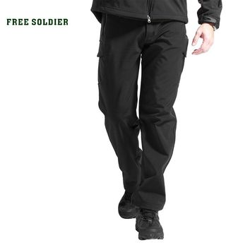 FREE SOLDIER Outdoor Sport Tactical Climbing Hiking Male Pants Softshell Fleece Fabric,Water-ResistantWindproof Pants For Men