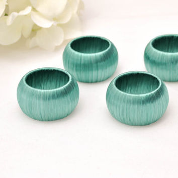 Beach Wedding Napkin Rings, Set of Four Teal Serviette Holders