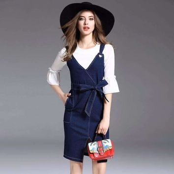 Europe New Fashion Denim Skirt 2018 Spring Womens Fashion Three Quarter Flare Sleeve Chiffon Blouses Tank Jeans Dress 2Piece Set