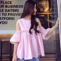 Bell Sleeve Ruffled Blouse