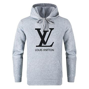 LV Louis Vuitton Fashion Women Men Casual Print Long Sleeve Hoodie Sweater Pullover Top Sweatshirt Grey
