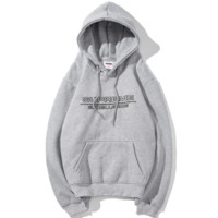 Supreme New fashion bust embroidery letter thick leisure couple hooded long sleeve sweater Gray