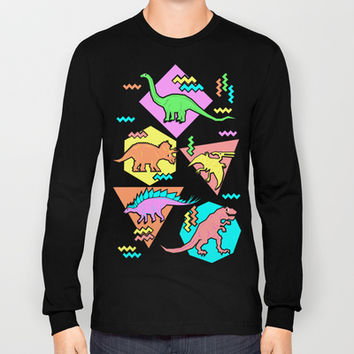 Nineties Dinosaur Pattern Long Sleeve T-shirts by chobopop
