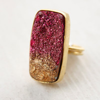Fuschia Agate Druzy Ring  Rectangular Cut  Metallic by OhKuol