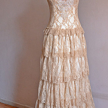 Cream Lace Bohemian Wedding Dress /Long  Bridal Wedding Gown / Handmade by SuzannaM Designs