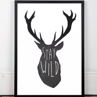 Deer print, Quote poster, Motivational quote, Inspirational quote, A3 print, Deer poster, Black and white art, Modern print, Home decor