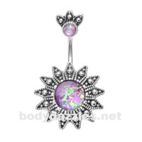 Antique Opal Sunburst Belly Button Ring 14ga Navel Ring Body Jewelry