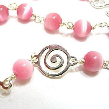 Strike Me Pink Beaded Silver Spiral Necklace