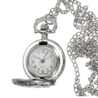 Man Pocket Watch Antique Silver Hollow Round Necklace Chain