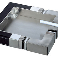 Festivity Stainless Steel & Leather Cigarette Ashtray