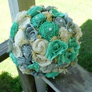 Tiffany blue and gray bridal bouquet, Sola bouquet, rustic wedding, rustic bouquet, beach wedding, beach bouquet, Keepsake bouquet
