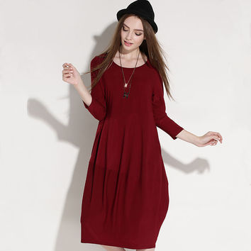 Women Oversize Midi Ballon Dress Plus Size Dresses xl to 4xl