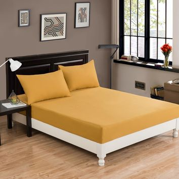 DaDa Bedding Luxury Dark Elegance Yellow Soft Fitted Sheet & Pillow Cases Set  (JHW-550-Fitted)