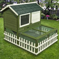 Ware Rabbit Ranch Hutch & Pen Combo Green-White