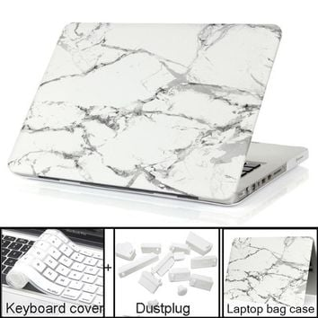 Marble Texture Laptop sleeve For Apple Macbook Pro Retina 11 12 13 15 Case For Mac book Air 13.3 11.6 free Keyboard Cover+film