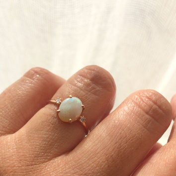Opal Ring, Opal Engagement Ring, 14k Opal Ring, Opal Diamond Ring, Unique Engagement Ring, Past Present Future Ring, Anniversary Ring, Opal