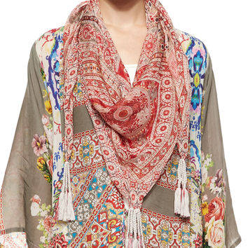 Nikky Floral-Print Silk Georgette Scarf, Size: ONE SIZE, MULTI (RED) - Johnny Was Collection