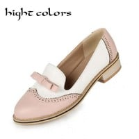Sweet Bow Patchwork Women Slip-on Casual Flat Oxford Shoes Fashion Girls Flat Shoes Round Toe Loafers Shoes Women Size 34-43