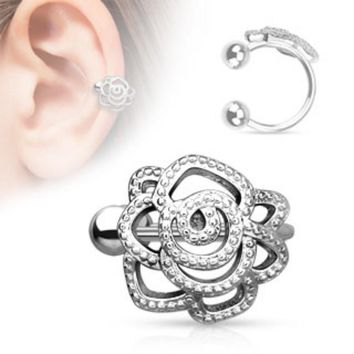 Rose with Paved Beads Non-Piercing WildKlass Ear Cuff (Sold by Piece)