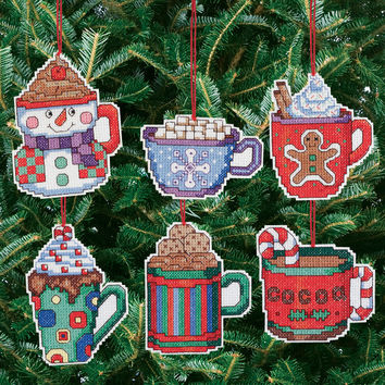 cocoa mug ornaments counted cross stitch kit - 3.5""