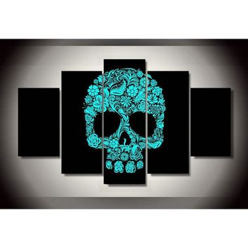 Flowered Skull 5pc Canvas
