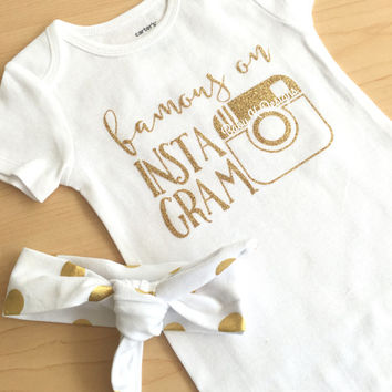 Famous On Instagram Sparkle Onesuit Newborn Clothing. Baby Girl Gold Glitter Bodysuit Newborn Home Coming Outfit Baby Girl TopKnot Headband