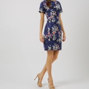 Dark Blue Floral Print Pencil Dress