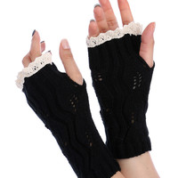 Black Lace Top Knitted Hand Warmers