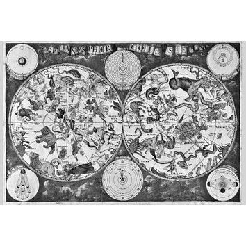 Zodiac Map Poster Standup 4inx6in black and white