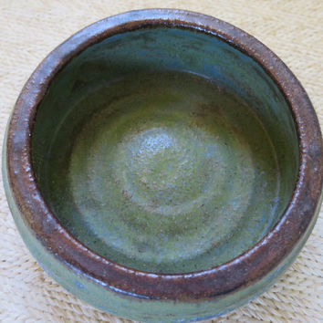 Green Pottery Low Bowl Studio Made  Hand Thrown Pottery Candle Holder Cactus Planter Small Container Mottled Green Glaze 5 x 1 3/4 inches