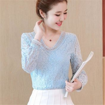 V-Neck Chiffon Blouses Womens Autumn 2017 Hot Sell Shirts Long Lantern Sleeve Elegant Female Tops Floral Lace Patchwork Blouse