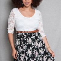 TRAC Plus-Size Lace And Floral Print Open-Back Combo Dress - B/w