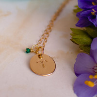 Tiny Gold Aries Necklace - small gold Aries Zodiac Sign Pendant on 14k Gold Filled Chain with Emerald Green Crystal or CHOOSE GEMSTONE