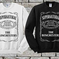 supernatural the winchesters Black White sweater Sweatshirt Crewneck Men or Women Unisex