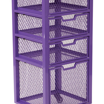 Office Star Clayton 4 Drawer Rolling Cart in Purple Metal Finish Frame Fully Assembled [CLY04AS-512]