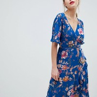 Vila Wrap Bold Floral Dress at asos.com