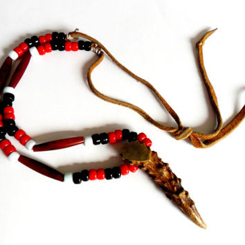 Beaded Leather Antler Pendant Necklace Native American Indian Pony Trade Bead Buffalo Hairpipe Vintage Red Black White Burr Point Talisman