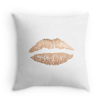 Rose gold lips pillow - includes insert - Decor pillow, rose gold