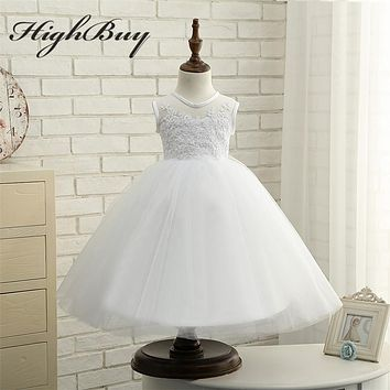HighBuy Princess White Ivory Baby Dance First Communion Dress for Pageant Toddler Appliques Lace Flower Girl Dresses Tea Length