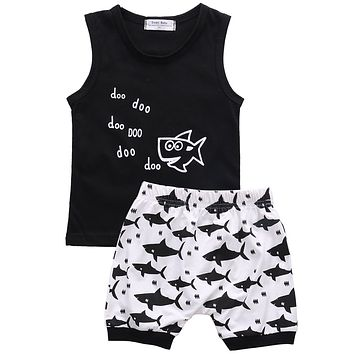 New summer baby boy clothes fashion cotton Sleeveless Tank Top+Fish Printed Shorts baby boys clothing set infant 2pcs suit