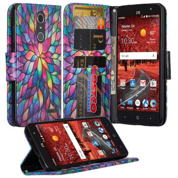 ZTE Grand X 4 Case, Wrist Strap Pu Leather Magnetic Flip Fold[Kickstand] Wallet Case with ID and Card Slots for Grand X4 - Rainbow Flower