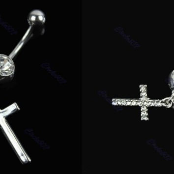 New Charming Dangle Crystal Navel Belly Ring Bling Barbell Button Ring Piercing Body Jewelry = 4804938564