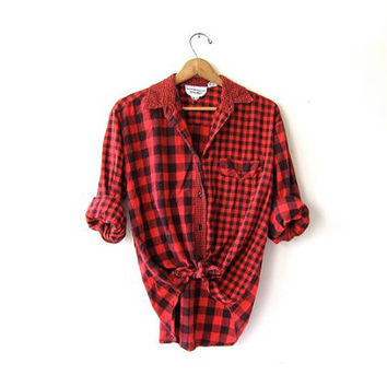 Vintage Buffalo Check Flannel Shirt. Boyfriend Shirt. Red Checkered Button Up Shirt. Lumberjack Grunge Shirt. Tomboy coed Flannel. S M L