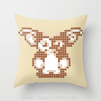 Gizmo Gremlins Mogwai Throw Pillow 16x16 Graphic Decorative Cover Pop Culture Movie Cute Hot 80s 90s Kid Pastel Light Brown Tan Cream Pale