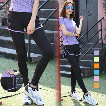 Spring New Sport Yoga Pant Fitness Off Two Feet Pants Quick Dry Show Thin Running Pants Leggings