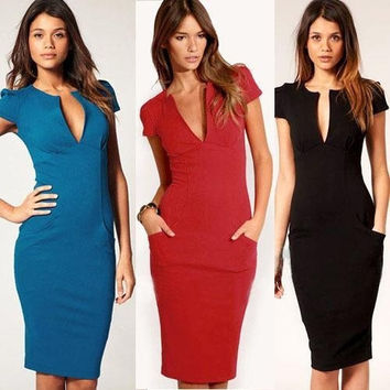 2013 Elegant Ladies' V-Neck Fashion Celebrity Pencil Dress,Women Wear to Work Slim Knee-Length Pocket Party Bodycon Dress XS-XXL = 1956582084