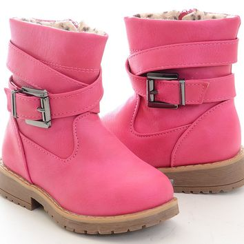 Hot Pink Lace Up Combat Boots Fuchsia Girls Toddler