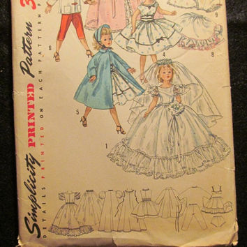 "Sale Uncut 1950's Simplicity Sewing Pattern, 1808! 18"" Doll Clothes/Wardrobe for Revlon & Cissy Dolls/Wedding Dresses/Hoope Petticoats/Veils"